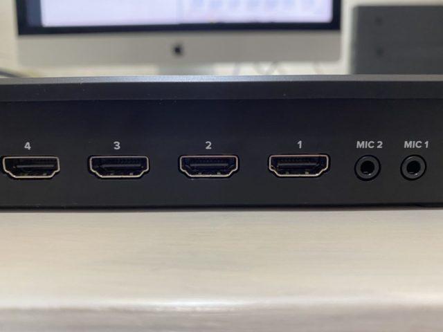 Blackmagic Design ATEM Miniマイク入力1、2、そしてHDMI入力が1〜4コネクタ
